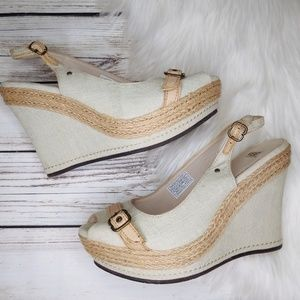 EUC UGG AUSTRALIA LIGHT GREEN CANVAS PEEP WEDGES